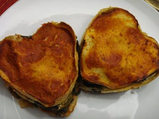 Mini heart shaped lasagnas