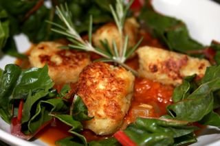 Parsnip Dumplings Over a Red Pepper Puree