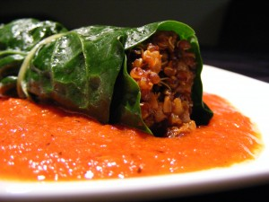 Smokey Stuffed Chard with Sweet Pepper Coulis