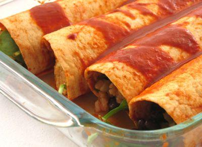 Spinach, Black Bean & Rice Enchiladas