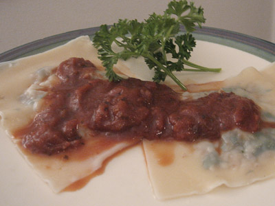 Spicy Red Wine Love Sauce with Savory White Wine Ravioli