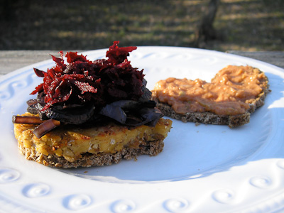 Tempeh Reuben Sliders with Raw Beet Slaw and Red-Wine Braised Mushrooms