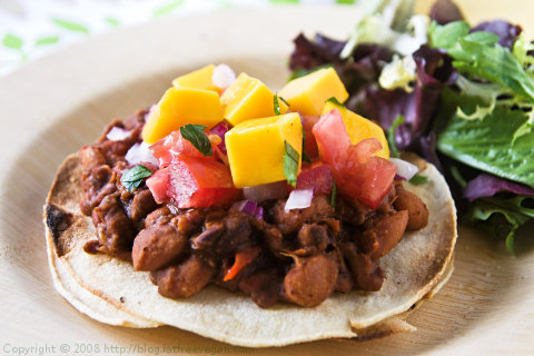 Tortillas with Achiote Beans and Mango