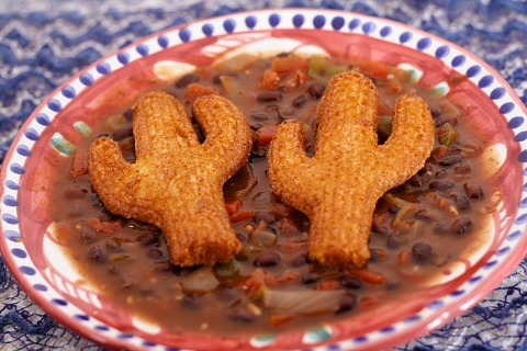 Stormy Black Bean Soup with Cornbread Cacti
