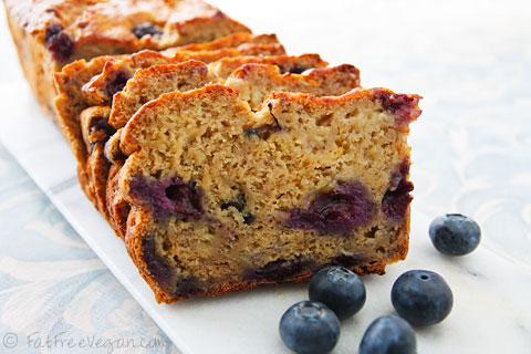 Blueberry Banana Bread fat free vegan