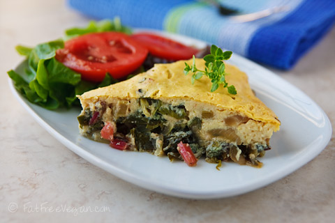 Savory Swiss Chard Pie: This vegan tofu quiche is filled with the nutrition and flavor of Swiss chard. Delicious and very low-fat!