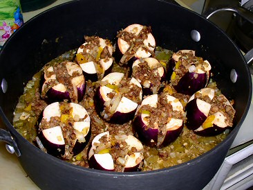 Stuffed Eggplants in Pot