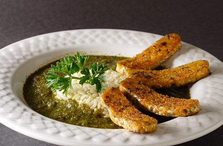 Gumbo z'Herbes with Spicy Tempeh Bacon