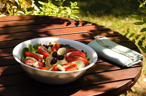 Hummus Salad on my patio
