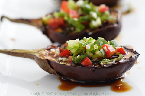 Grilled Eggplant with Korean Barbecue Sauce and Green Onion