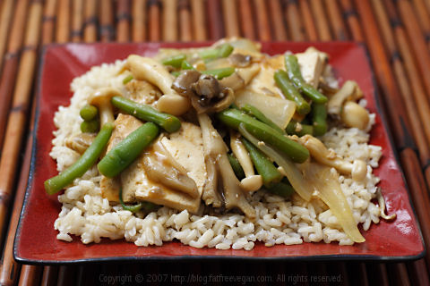 Maitake and Beech Mushrooms with Simmered Tofu on Sesame Rice