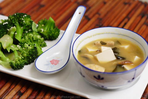 Double Mushroom Miso Soup with Sesame Broccoli