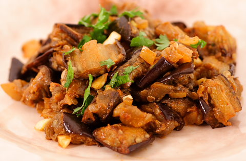 Moroccan Eggplant Salad with Preserved Lemon