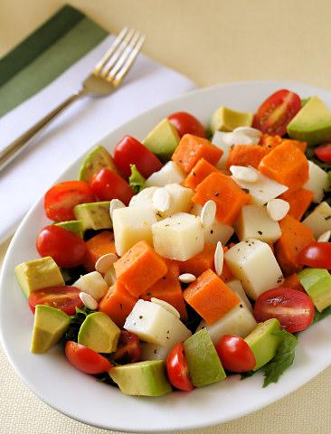 Nava Atlas' Sweet and White Potato Salad with Mixed Greens