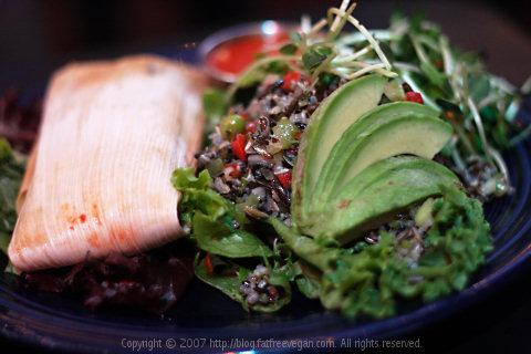 Raw Tamale with salad