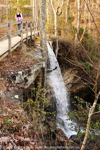 Bridge over Waterfall at DeSoto State Park Alabama
