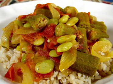 Okra and lima bean masala recipe from fatfree vegan kitchen for How to cook fresh lima beans from garden