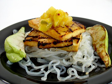 Grilled Orange-Ginger Tofu topped with Mango Chutney with Shirataki Noodles and Grilled Chayote