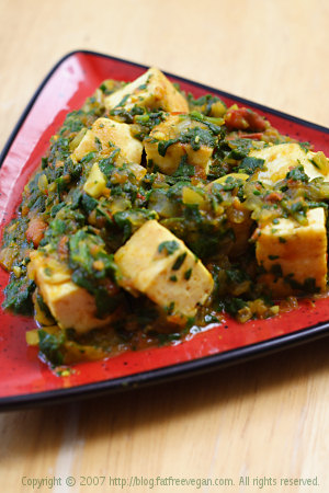Palak Tofu (Tofu in Curried Spinach Sauce) | Recipe from FatFree Vegan ...
