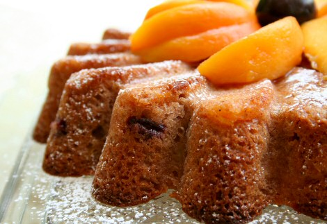 Close-up of Rosy Peach Cake