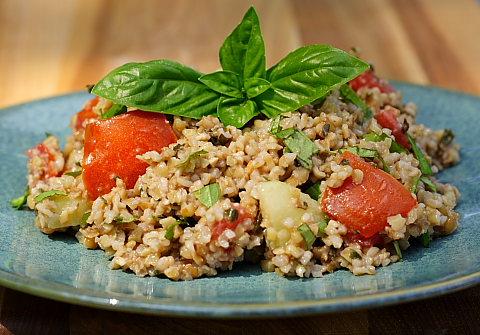 Bulgar Pesto Salad, AKA Pesto Tabouli