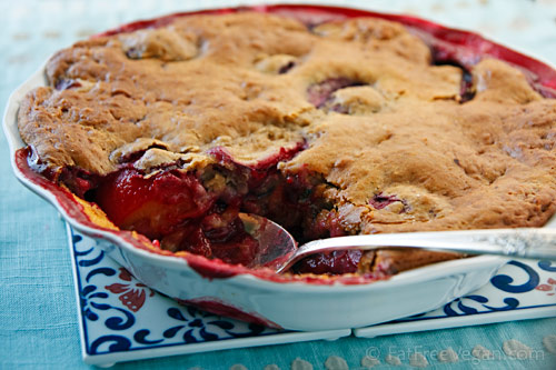 Low-Fat Plum Cobbler | Recipe from FatFree Vegan Kitchen