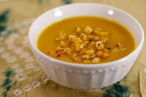 Vegan Pumpkin and Roasted Corn Soup