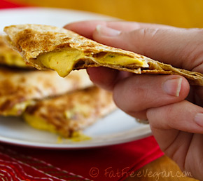 Cheeseless Quesadillas