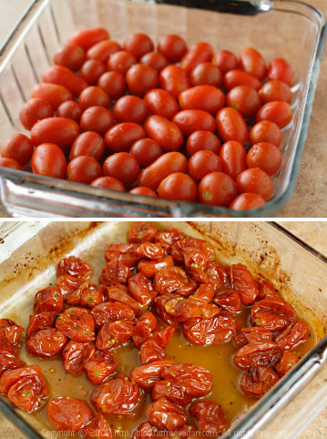 Tomatoes Before and After Roasting