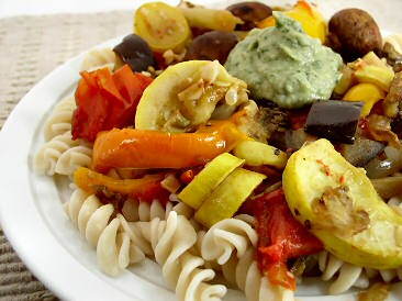 Pasta with Roasted Vegetables and White Bean P