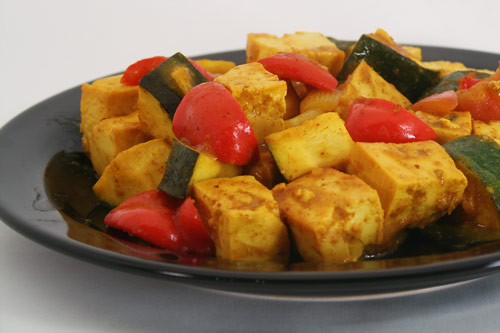 Tofu and Veggies Barbecued with South Carolina Mustard Sauce