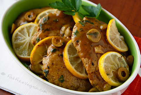 Seitan Scaloppine with Lemon-Olive Sauce