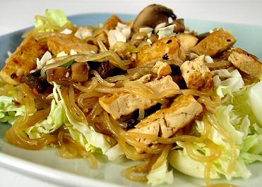 Hot and Sour Shirataki Noodles and Tofu, a Thai-style dish