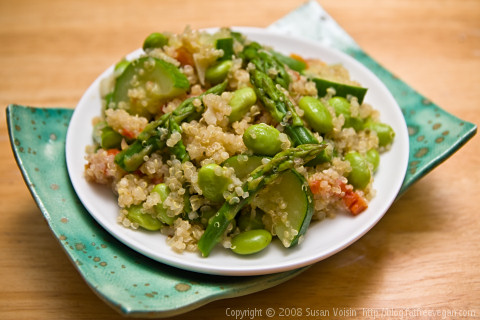 Spring Green Quinoa, a light, vegan quinoa dish featuring asparagus and edamame