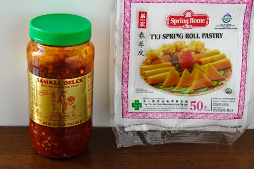 Sambal Oelek and Spring Roll Wrappers