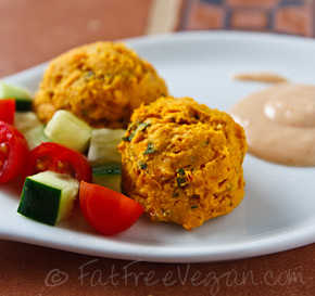 Sweet Potato Falafel with Yogurt-Tahini Dressing