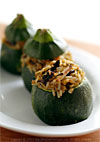 Thumbnail image for Eight-Ball Zucchini Stuffed with Rice, Basil, and Sun-dried Tomatoes