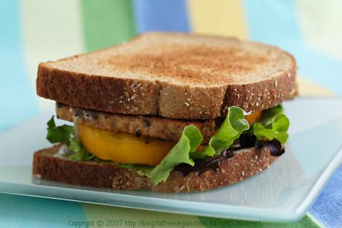 Tempeh, Lettuce, Tomato Sandwich