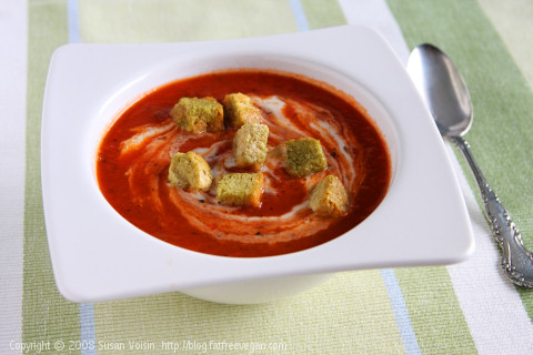 Tomato Soup with Roasted Garlic and Seasonal Herbs