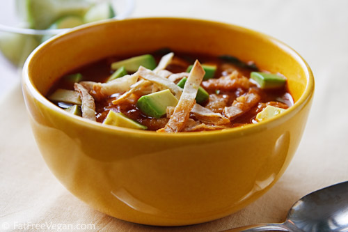 Tortilla Soup with Pinto Beans