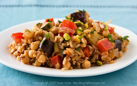 Turkish Pilaf with Pistachios and Chickpeas