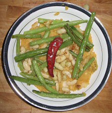 Green Beans and Flageolets over Sweet Potato-Parsnip Puree