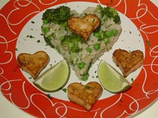 Lime and Coriander Rice with Tofu Hearts