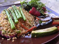 Roasted Asparagus with Fruity Rocket Salad