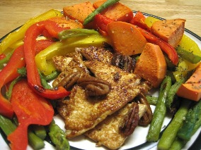 Roasted Sweet Potatoes and Veggies with Orange Caramelized Tofu