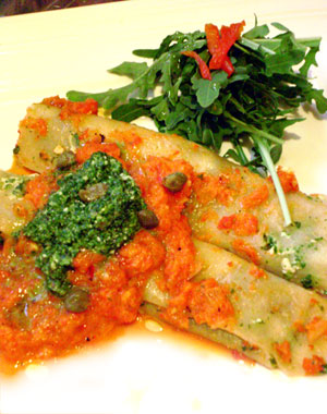 Firey Red Pepper and Arugula Pesto Cannelloni
