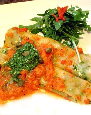 Firey Red Pepper and Arugula Pesto Cannelloni
