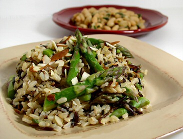 Brown and Wild Rice with Asparagus and Cannellini Beans with Fresh Herbs