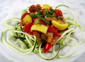 Zucchini Spirals with Fresh Vegetable Sauce
