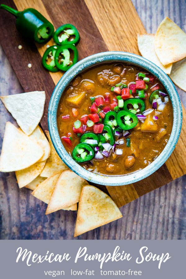 Mexican Pumpkin Soup: Thick, creamy, and filling, this Mexican Pumpkin Soup has a base of pumpkin but is loaded with beans and potatoes. It is low-fat, vegan, and tomato-free.